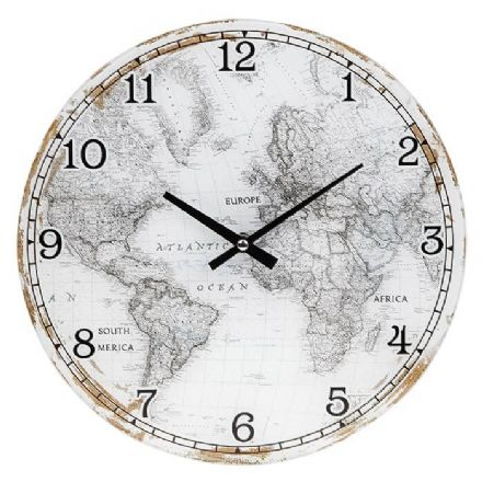 Large World Map Wall Clock